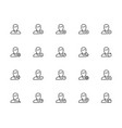 icon set male user avatars for account outline vector image