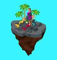isometry fairy island a cartoon a girl of mermaids vector image vector image