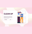 man washes dishes in sink cleaning at kitchen vector image vector image