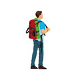man with backpack hiking activity image vector image
