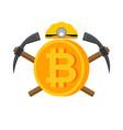 mining bitcoin logo meiner emblem helmet and vector image vector image