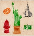 New York symbols crumled paper vector image