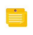 note paper pin office flat icon design vector image