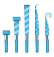 party horn blower blue party blower sign vector image vector image