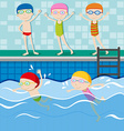 People swimming in the swimming pool vector image vector image