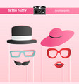 retro party bridal shower movember printable props vector image vector image