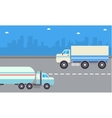 road tanker and delivery truck vector image vector image