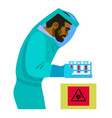 scientist working with bio hazardous substances vector image vector image