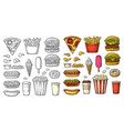 set fast food coffee hamburger pizza hotdog vector image vector image