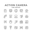 set line icons action camera vector image vector image
