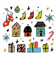 set of christmas design doodle elements ha vector image vector image