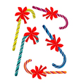 Set of Lovely Candy Canes with Red Bow vector image