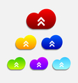 set six colorful upload cloud icons vector image vector image