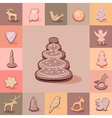 Set with cute festive Christmas cookies For your vector image