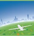 shanghai skyline flight destination vector image vector image