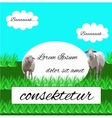 sheep grazing in a meadow vector image