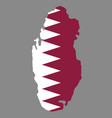 silhouette country borders map of qatar on vector image