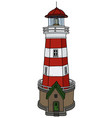 the old stone lighthouse vector image vector image