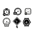 Wall clocks watch and alarm icons vector image