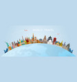 world skyline curve landmarks in flat design vector image