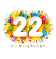 22 years anniversary paper colorful logo vector image vector image