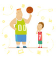 big and little schoolboys at a physical education vector image