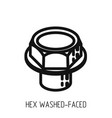 bolt head hex full bearing outline icon and vector image vector image