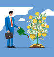 businessman watering money coin tree with can vector image