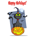 Cat halloween cartoon vector image vector image
