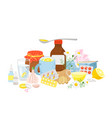 cold medicine pills syrup tea with lemon garlic vector image vector image