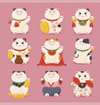 collection japanese lucky cat flat vector image vector image