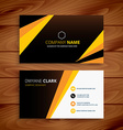 creative yellow and black business card vector image vector image