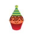 delicious cupcake character kawaii vector image
