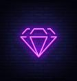diamond neon sign neon icon light symbol web vector image