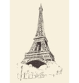Eiffel Tower Paris France Engraved Hand Drawn vector image vector image