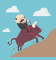 elderly businessman ride a bull success trader vector image vector image