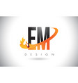 em e m letter logo with fire flames design and vector image vector image