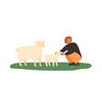 farmer female feeding lamb and sheep green vector image vector image
