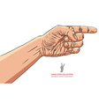 Finger pointing hand detailed hand sign vector image vector image