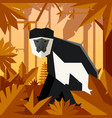 flat geometric jungle background with colobus vector image vector image