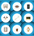 flat icon lifestyle set of whiteboard timer vector image vector image