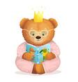 girl teddy bear princess reading book in pajamas vector image