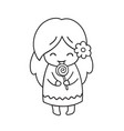 girl with lollipop cute little cartoon character vector image vector image