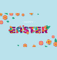 happy easter banner paper cut text lettering vector image vector image