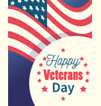 happy veterans day lettering label american flag vector image vector image