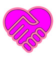 heart handshake icon eps10 vector image