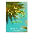 hello summer beach party flyer handwritten text vector image vector image