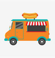 hot dog truck fast food van with signboard vector image