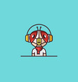 insect mascot fly headphones character vector image
