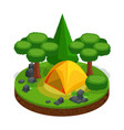 isometric camping outdoor recreation tent vector image vector image